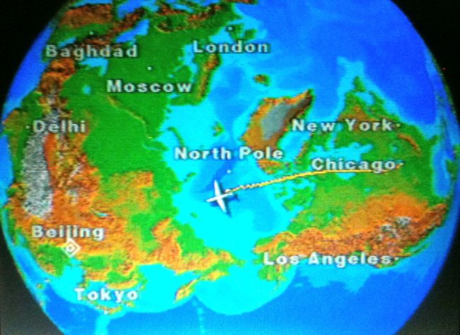 In flight over the North Pole